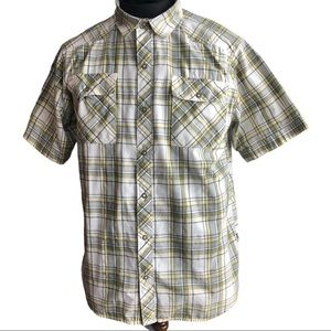 North Face snap button short sleeve plaid shirt L